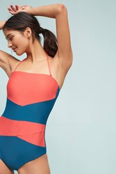Anthropologie Colorblock Convertible One Piece Red Motif