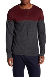 Micros Zapp Long Sleeve Printed Henley Shirt Red