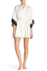 Josie Lace Trim Robe White