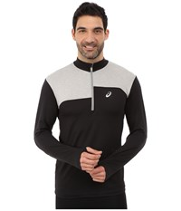 Asics Thermopolis 1 2 Zip Performance Black Light Grey Heather Men's Long Sleeve Pullover