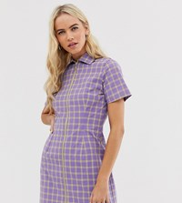 The Ragged Priest Zip Front Shirt Dress In Check Purple
