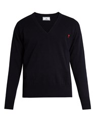 Ami Alexandre Mattiussi Logo Embroidered V Neck Wool Sweater Blue