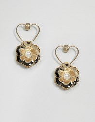 Asos Limited Edition Occasion Open Heart Flower Earrings Gold