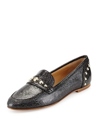 Etienne Aigner Sara Crackled Leather Loafer Silver