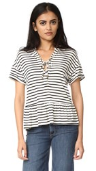 Maven West Lace Up Ruffle Tee Black White Stripe