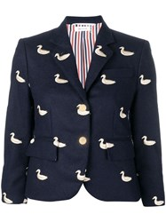 Thom Browne Gold Duck Embroidered Sport Coat Blue