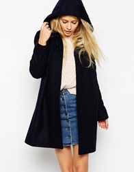 Asos Duffle Coat With Seam Detail Navy