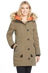 Women's Vince Camuto Down And Feather Fill Parka With Faux Fur Trim Pale Olive