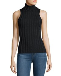 Catherine Malandrino Ribbed Metallic Turtleneck Top Black