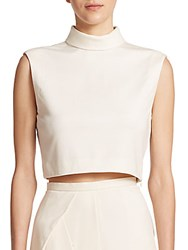 Tibi Filament Sleeveless Cropped Top Ivory