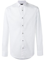 Philipp Plein Bomb Shirt Men Cotton Spandex Elastane M White