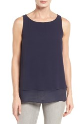 Eileen Fisher Women's Tiered Silk Georgette Tank Midnight