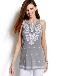 Inc International Concepts Embroidered Tie Front Halter Tunic Grey Wisp