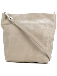 Rick Owens Worn Leather Tote Style Bag Nude And Neutrals