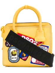 Dsquared2 Patch Detail Tote Yellow And Orange