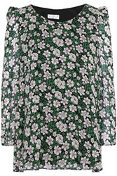 Claudie Pierlot Bow Detailed Floral Print Crepe Blouse Forest Green