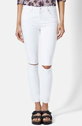 Women's Topshop Moto 'Leigh' Ripped Ankle Skinny Jeans White