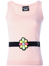 Boutique Moschino Embellished Knitted Tank Pink Purple