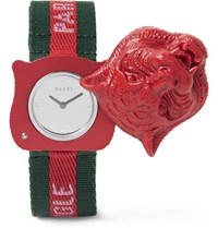 Gucci Tiger's Head Resin And Grosgrain Watch Red