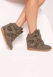 Missguided Wedge Velcro Strap High Top Trainers Khaki Grey