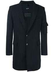 Blood Brother Zip Detail Striped Blazer Black