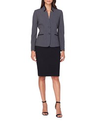 Tahari By Arthur S. Levine Petite Two Button Jacket And Skirt Suit Grey Black