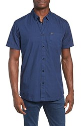 Rvca Men's Daisy Dot Print Shirt Federal Blue
