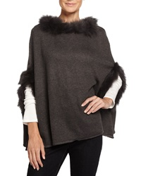 Neiman Marcus Fur Trimmed Knit Poncho Gray