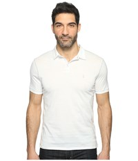 John Varvatos Matte Sheen Soft Collar Peace Polo With Peace Sign Chest Embroidery K1381t1b Salt Men's Clothing White
