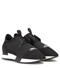 Balenciaga Leather Trimmed Sneakers Black