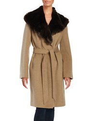 Jones New York Oversized Faux Fur Coat Khaki