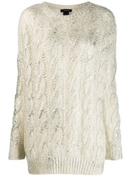 Avant Toi Cashmere Cable Knit Sweater White