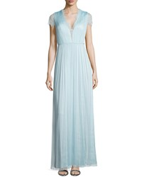 Catherine Deane Short Sleeve Lace Gown Aqua Sky