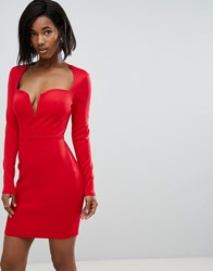 Club L Long Sleeve Scuba Boned Detailed Pencil Dress Red