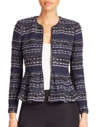 Rebecca Taylor Metallic Tweed Peplum Jacket Navy Black
