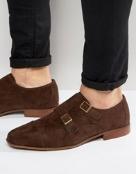 Asos Monk Shoes In Brown Faux Suede Brown