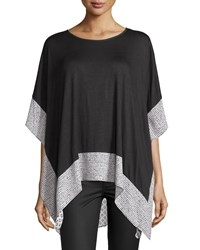 P. Luca Jersey And Printed Chiffon Batwing Tunic Black