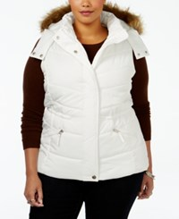 American Rag Trendy Plus Size Faux Fur Trim Puffer Vest Only At Macy's Egret