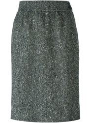 Yves Saint Laurent Vintage Tweed Pencil Skirt Grey