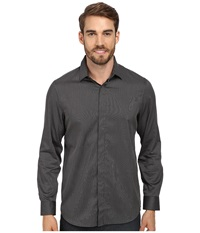 Perry Ellis Slim Fit Non Iron Narrow Stripe Pattern Shirt Black Men's Long Sleeve Button Up