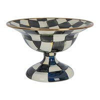 Mackenzie Childs Courtly Check Enamel Serving Bowl Black And White