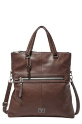 Fossil Dawson Leather Foldover Tote Brown