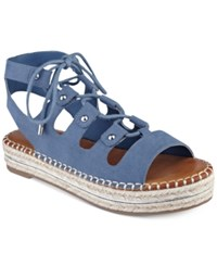 G By Guess Keeny Lace Up Platform Espadrille Sandals Women's Shoes Blue