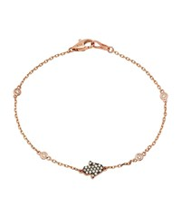 Kenza Lee Dainty Hamsa Bracelet Female Black Rose Gold