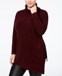 Rachel Roy Curvy Trendy Plus Size Turtleneck Tunic Sweater Only At Macy's Dark Pinot Noir Marled