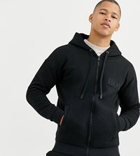 Boss Bodywear Contemporary Quilted Zip Through Hooded Track Jacket In Black