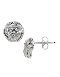 Lord And Taylor Sterling Silver And Cubic Zirconia Swirl Flower Stud Earrings