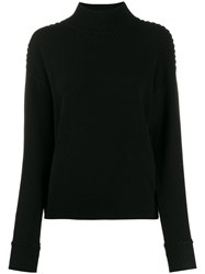 Theory Cashmere Roll Neck Jumper Black