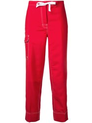 Thom Browne Drawstring Cropped Trousers Women Mohair 40 Red