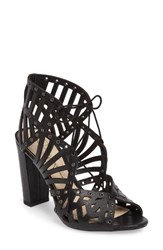 Jessica Simpson Women's Emagine Lace Up Sandal Black Leather